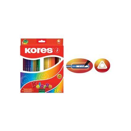 Kores Dreikant-Buntstifte, 12er Karton-Etui + gratis Spitzer