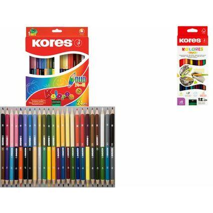 "Kores Dreikant-Buntstifte ""DUO"", 12er Karton-Etui + Spitzer"