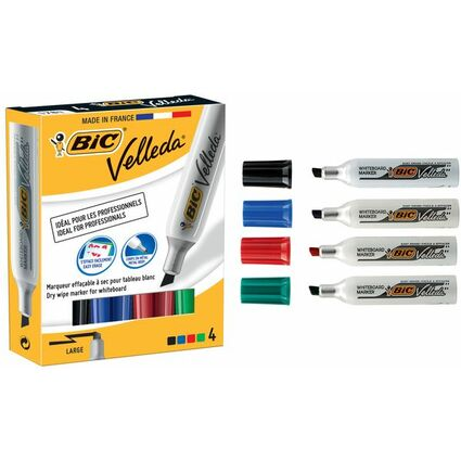 BIC Whiteboard-Marker Velleda 1781, Keilspitze, 4er Etui