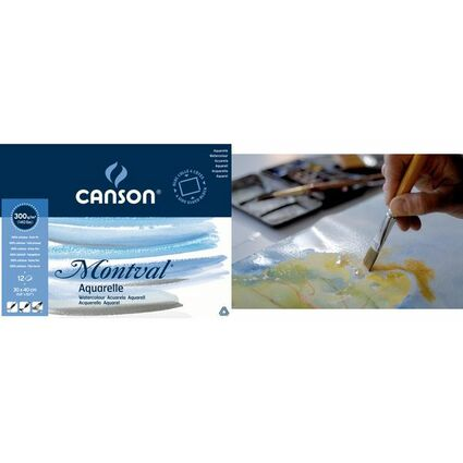 """CANSON Aquarellblock """"Montval"""", rundum geleimt, 300 x 400 mm"""