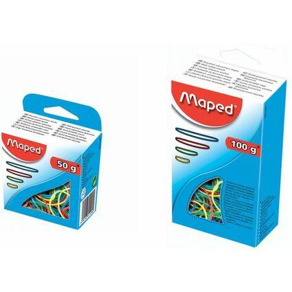 Maped Gummiringe im Karton, 100 g, sortiert