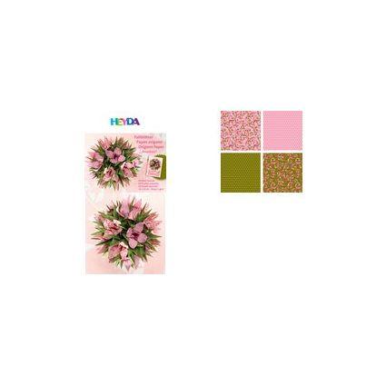 HEYDA Origami Faltblätter, (B)150 x (H)150 mm, rosa/grün