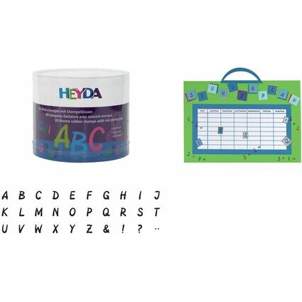 "HEYDA Motivstempel-Set ""Alphabet"", Klarsicht-Runddose"
