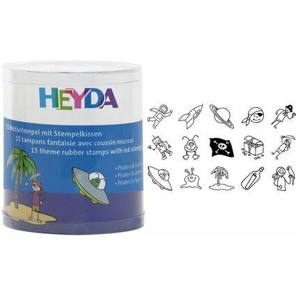 """HEYDA Motivstempel-Set """"Piraten & Raumfahrer"""", Runddose"""