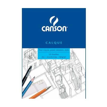 CANSON Transparentpapierblock, DIN A4, 90/95 g/qm, 25 Blatt