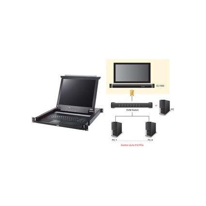 "ATEN 19"" KVM Konsole mit 43,18 cm (17"") LCD-Monitor, schwarz"