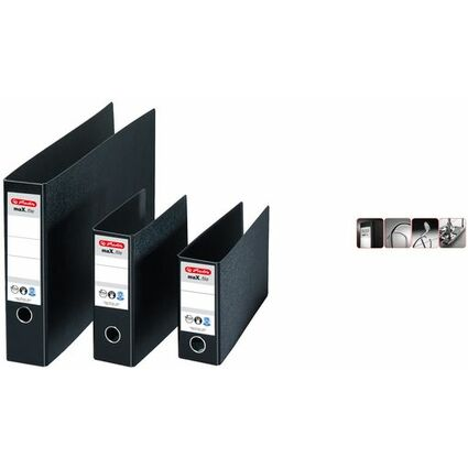 herlitz Hartpappe-Ordner max.file, A3 quer, Rückenbr.:75 mm