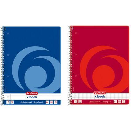 herlitz Collegeblock x.book, DIN A4, 80 Blatt, liniert