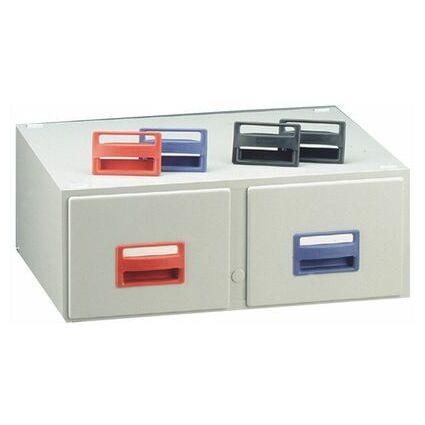 REXEL Karteikasten DIN A6 hoch, 2 Schubladen, grau
