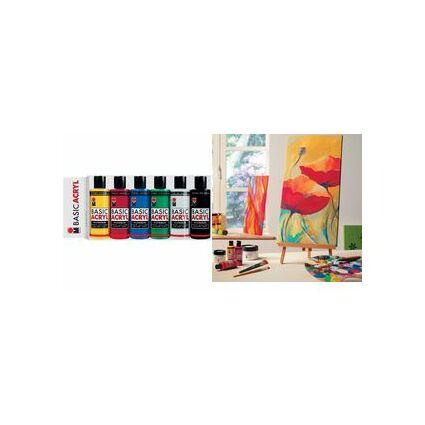 "Marabu Acrylfarbe ""BasicAcryl"", Starter Set 6 x 80 ml"