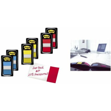 Post-it Haftmarker Index, 25,4 x 43,2 mm, rot, Vorteilspack