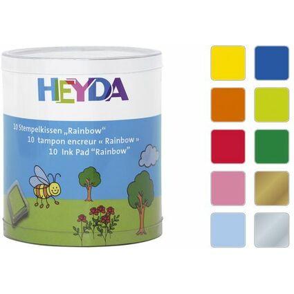 """HEYDA Stempelkissen-Set """"Rainbow"""", Klarsicht-Runddose"""
