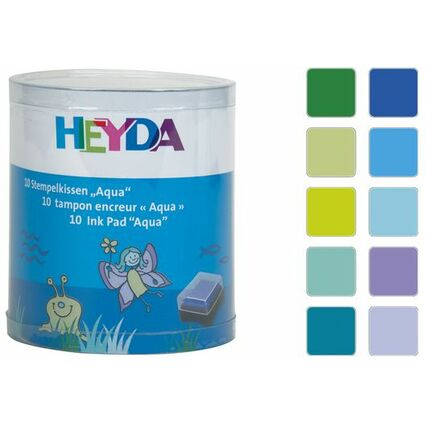 "HEYDA Stempelkissen-Set ""Aqua"", Klarsicht-Runddose"