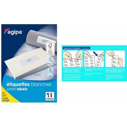 agipa Universal-Etiketten, 52,5 x 21,2 mm, mit Abzieh-Hilfe