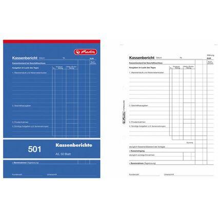 "herlitz Formularbuch ""Kassenbericht 501"" DIN A5, 50 Blatt"