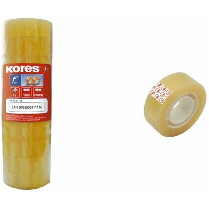 Kores Klebefilm STANGENWARE 12 mm x 33 m, transparent