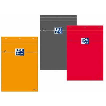 Oxford Notizblock, DIN A4, kariert, 80 Blatt, rot