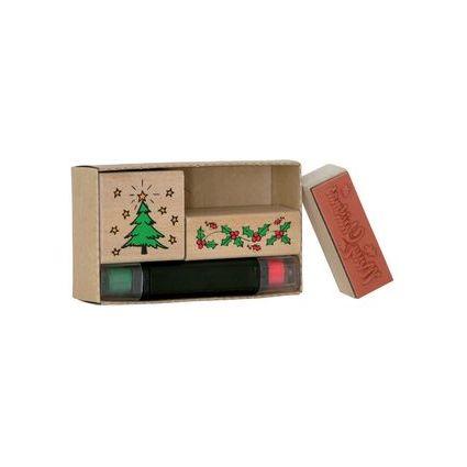 """HEYDA Motivstempel-Set """"Weihnachten"""", aus Holz, 3-teilig"""