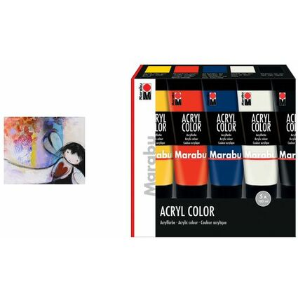 "Marabu Acrylfarbe ""AcrylColor"", Starter Set 5 x 100 ml"