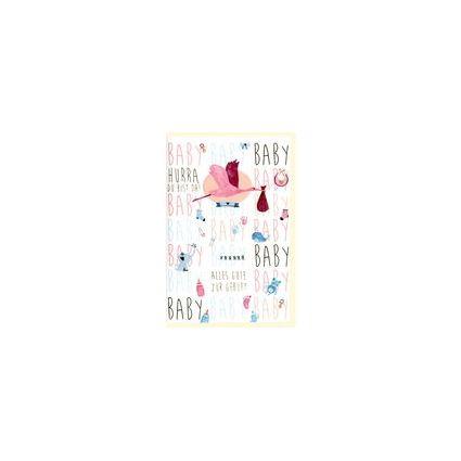 HORN Geburtskarte - Blau-Rosa Illustration - inkl. Umschlag