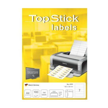 TOP STICK Ordnerrücken-Etiketten, 192 x 38 mm, weiß