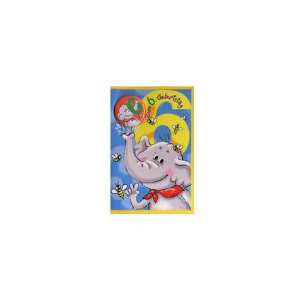 HORN Kinder-Geburtstagskarte - Elefant - 6. Geburtstag