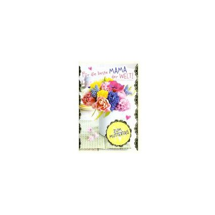 HORN Muttertagskarte - Bunte Herzen - inkl. Umschlag