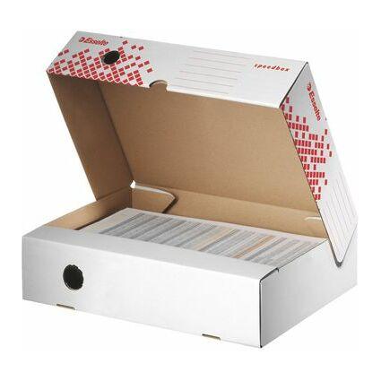 Esselte Archiv-Klappschachtel SPEEDBOX, (B)80 mm, weiß/rot