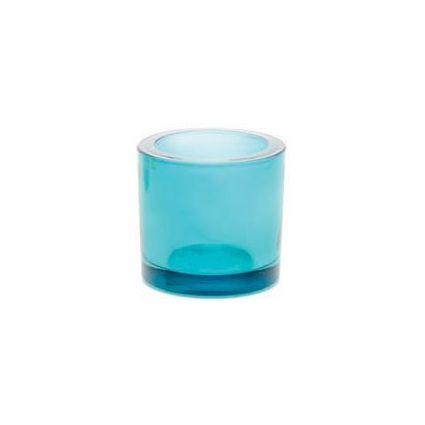 GLOREX Teelicht-Glas, rund, türkis-transparent