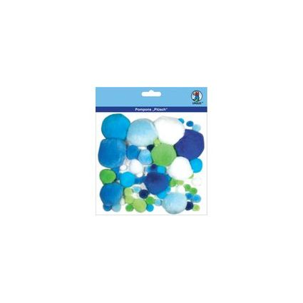 """URSUS Pompon-Set """"Plüsch"""", blau/grün"""