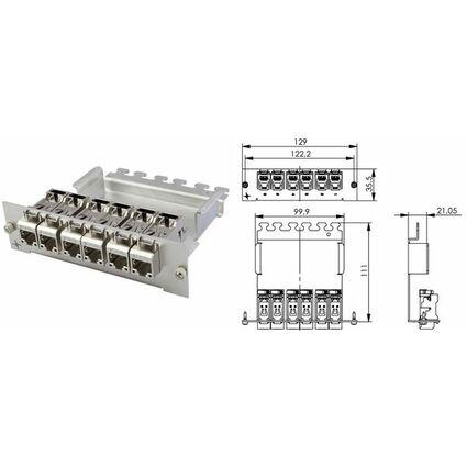 Telegärtner Modulträger mit 6 AMJ-S Modulen, 3 HE, 7 TE