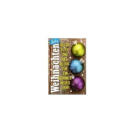 HORN Weihnachtskarte - Christbaumkugeln mit Eiskristallen