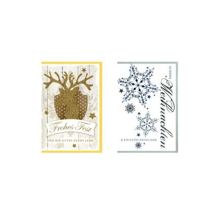 HORN Weihnachtskarte - Hirsch & Schneeflocke- inkl. Umschlag