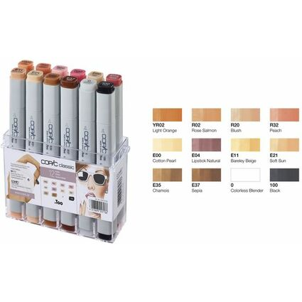 COPIC Profi Marker, 12er Set Hautfarben