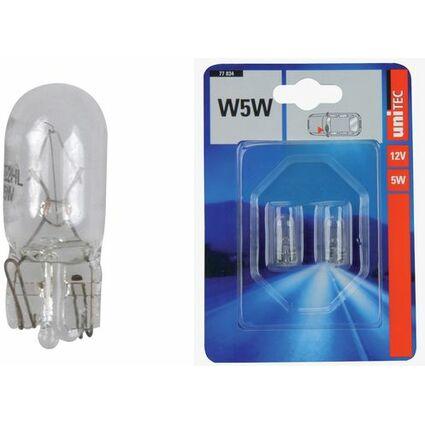 uniTEC KFZ-Glassockellampe, 12 Volt, 5 Watt, Inhalt: 2 Stück