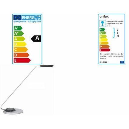 unilux LED Energiespar-Tischleuchte ULVA, silber/schwarz