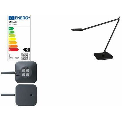 unilux LED Energiespar-Tischleuchte MAGIC, mattschwarz