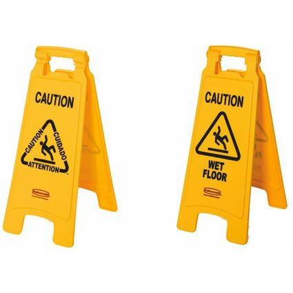 "Rubbermaid Warnschild ""Caution Wet Floor"", mehrsprachig"