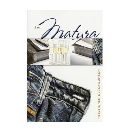 HORN Glückwunschkarte - Matura - Sekt, Ordner, Jeans -