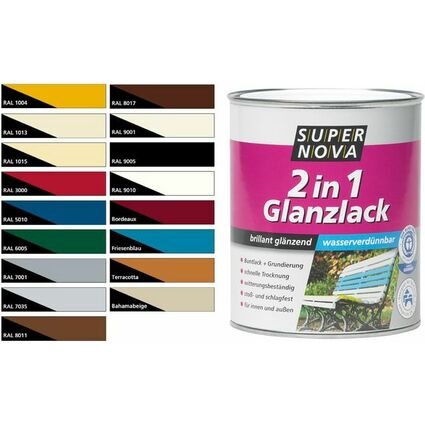 SUPER NOVA Glanzlack 2in1, nussbraun, 750 ml