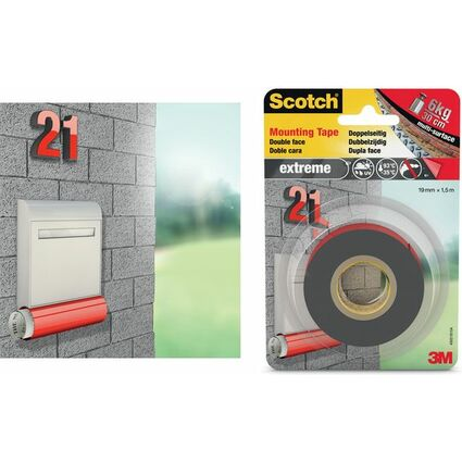 3M Scotch doppelseitiges Montageklebeband, 19 mm x 1,5 m