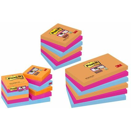 Post-it Haftnotizen Super Sticky Notes, 76 x 76 mm, 3-farbig