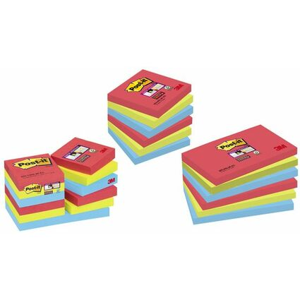 Post-it Haftnotizen Super Sticky Notes, 127 x 76 mm, 3-farbi