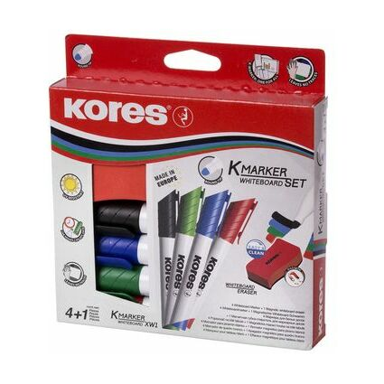 Kores Whiteboard-Marker Set, 4 Marker + Tafellöscher