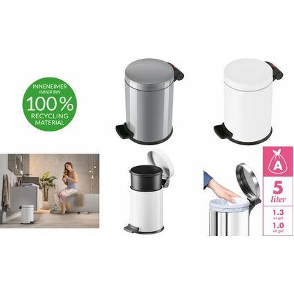 Hailo Tret-Kosmetikeimer ProfiLine Solid 4, 4 Liter, weiß