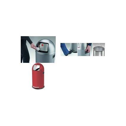 Hailo Abfalleimer KickMaxx 35, rund, 35 Liter, silber