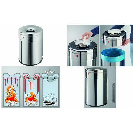 Hailo Wand-Papierkorb ProfiLine safe 30 W, 30 Liter, silber