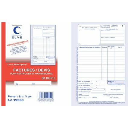 ELVE Manifold Factures / Devis, 50 feuillets, A5, dupli