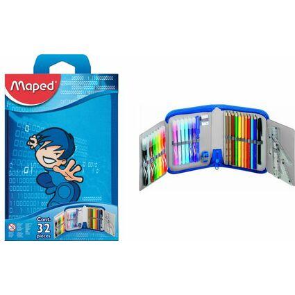 Maped Schüleretui Karate, aus Polyester, blau, befüllt