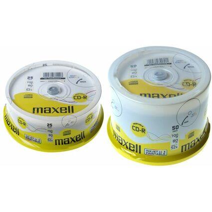 maxell CD-R 80 Minuten, 700 MB, 52X, bedruckbar, 25er